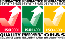 Accreditation for ISO 9001, ISO 14001 and ISO 45001