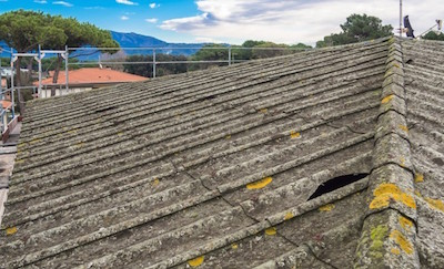 Roof with asbestos